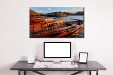 Golden Boats at Dusk - Canvas Print on Wall