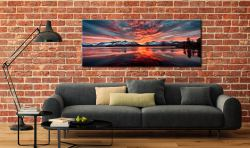 Red Skies Over Derwent Water - Canvas Print on Wall