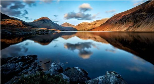 Golden Winter Sunlight Over Wast Water - Canvas Print