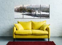 River Brathay Winter Wonderland - 3 Panel Wide Centre Canvas on Wall