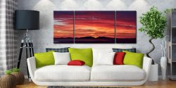 Colourful Hebredies Sunset - 3 Panel Wide Centre Canvas on Wall