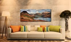 Snow on Mountains at Wast Water - Canvas Print on Wall