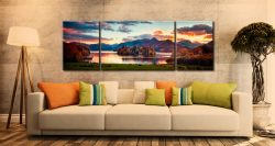 Derwent Water at Dusk - 3 Panel Wide Mid Canvas on Wall