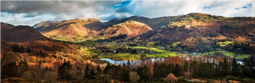 Grasmere Village Panorama - Canvas Prints