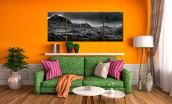 Scafell Mountains in Winter  - 3 Panel Wide Mid Canvas on Wall