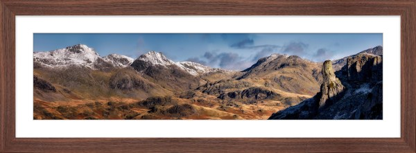 Eskdale Needle and Scafell Panorama - Framed Print with Mount