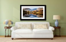 Winter Reflections Buttermere - Framed Print with Mount on Wall