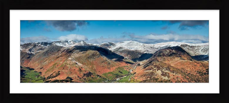 Glenridding Lake District Panorama - Framed Print with Mount