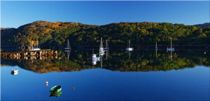 Calm Loch Shieldaig Boats - Canvas Print