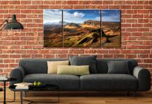 The Quiraing Range - 3 Panel Wide Centre Canvas on Wall