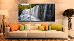 Breacon Beacons Waterfall - 3 Panel Canvas on Wall