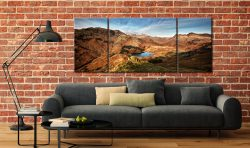 Blea Tarn From Lingmoor Fell - 3 Panel Wide Mid Canvas on Wall