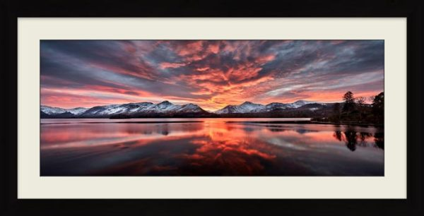 Red Skies Over Derwent Water - Framed Print with Mount