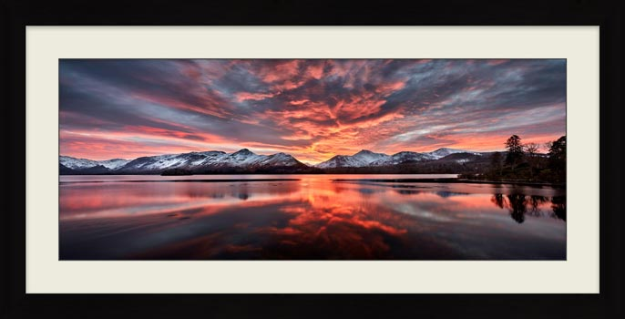 Red Skies Over Derwent Water - Framed Print