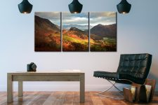 Castle Crag and Kings How - 3 Panel Canvas on Wall