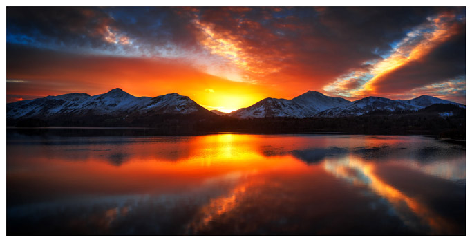 Winter Sunset Over Derwent Water - Lake District Print
