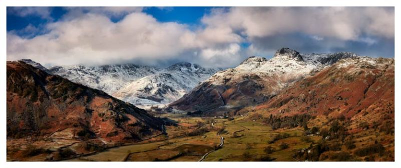Langdale Valley Winter Panorama - Lake District Print