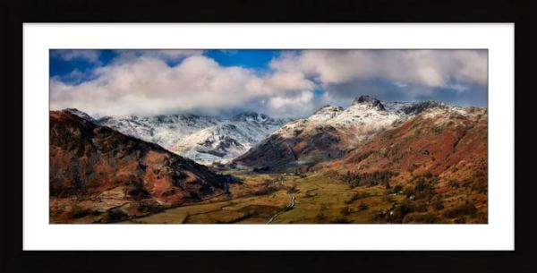 Langdale Valley Winter Panorama - Framed Print with Mount