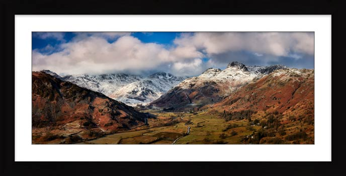 Langdale Valley Winter Panorama - Framed Print