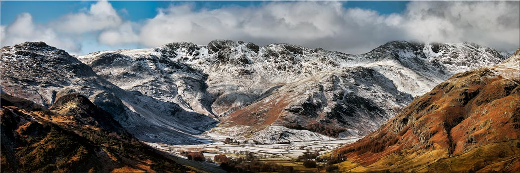 Snow on Crinckle Crags and Bow Fell - Canvas Print