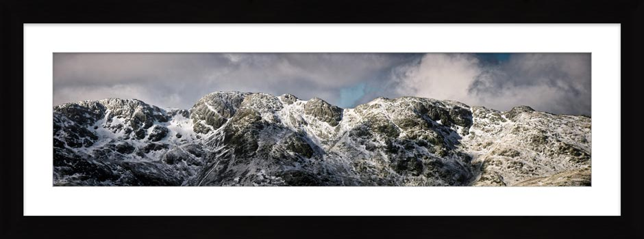 Crinkle Crags Winter Panorama - Framed Print