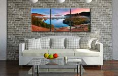 Dawn Colours of Grasmere  - 3 Panel Canvas on Wall