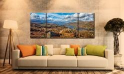 Coniston Water Panorama  - 3 Panel Wide Mid Canvas on Wall