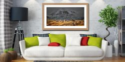 Three Sheep and a Mountain - Framed Print with Mount on Wall