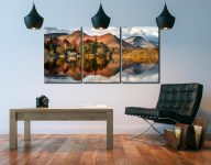 Derwent Boathouse and Cat Bells - 3 Panel Canvas on Wall