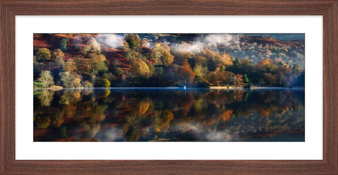 Rydal Water in Autumn - Framed Print with Mount