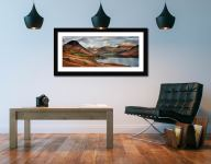 Snow on Mountains at Wast Water - Framed Print with Mount on Wall