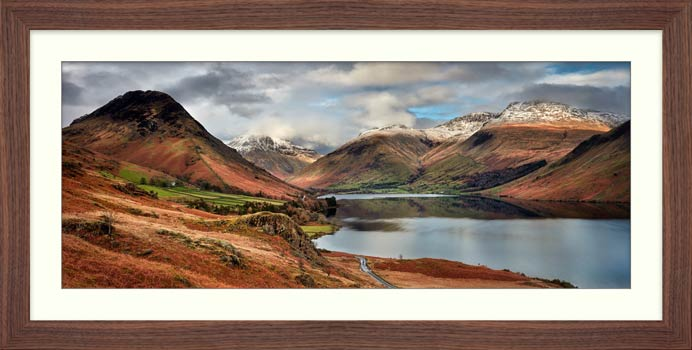 Snow on Mountains at Wast Water - Framed Print with Mount