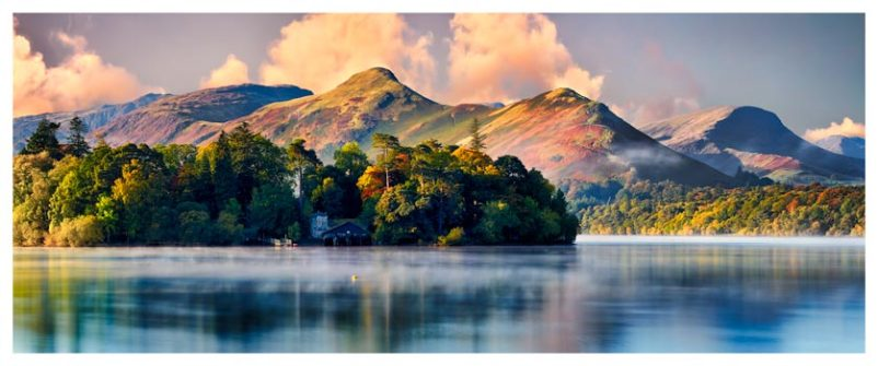 Morning Mists Around Derwent Isle - Lake District Print