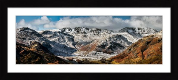 Snow on Crinkle Crags and Bow Fell - Framed Print with Mount