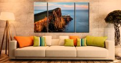 Golden Cliffs Neist Point-Lighthouse-Canvas-3-Panel-Wide-room