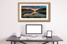Thirlmere Autumn Dawn - Framed Print with Mount on Wall