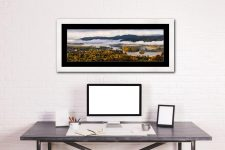 Windermere Morning Mists - Framed Print with Mount on Wall
