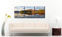 Derwent Isle and Cat Bells - 3 Panel Canvas on Wall