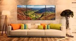 The Great Langdale Valley - 3 Panel Wide Mid Canvas on Wall