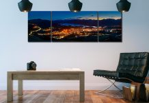 Keswick at Night - 3 Panel Wide Mid Canvas on Wall