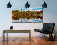 Tarn Hows Autumn Reflections - 3 Panel Canvas on Wall