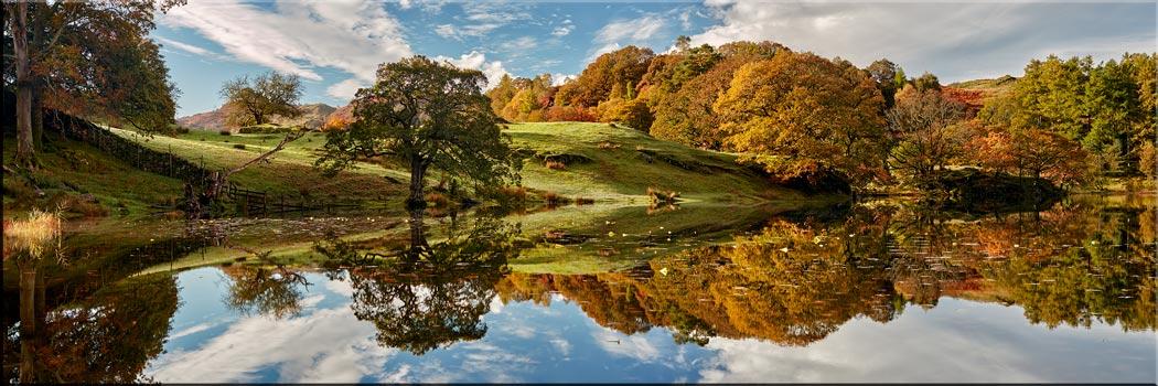 Loughrigg Tarn Autumn Reflections - Canvas Print