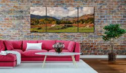 Sheep on Elterwater Common - 3 Panel Wide Mid Canvas on Wall