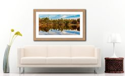Tarn Hows Autumn Reflections - Framed Print with Mount on Wall