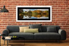 Loughrigg Tarn Autumn Reflections - Framed Print with Mount on Wall