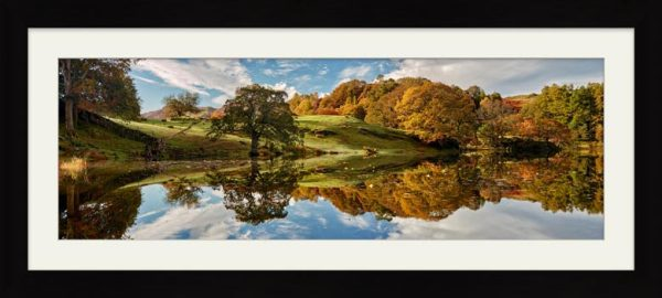 Loughrigg Tarn Autumn Reflections - Framed Print with Mount