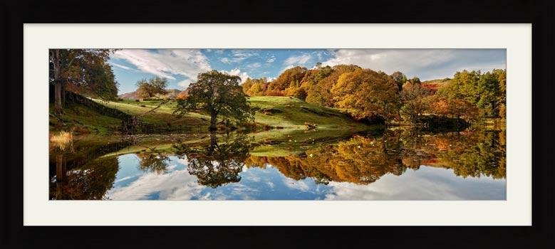 Loughrigg Tarn Autumn Reflections - Framed Print