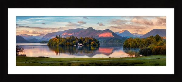 Derwent Water First Light - Framed Print with Mount