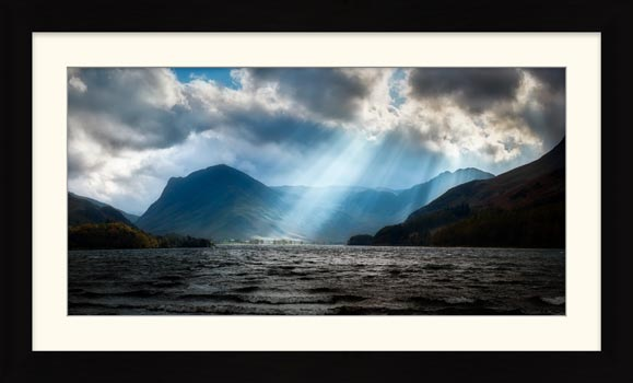 Sunbeams Over Buttermere - Framed Print with Mount