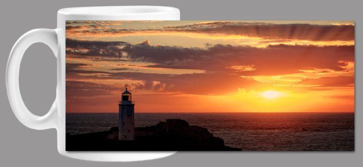 Sun Rays Over Godrevy Lighthouse Mug